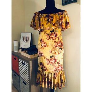Lularoe Cici Velvet Floral Off the Shoulder Dress